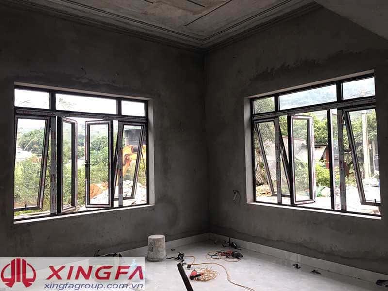 Cửa sổ mở quay, mở hất nhôm xingfa lắp đặt tại Yên Bái