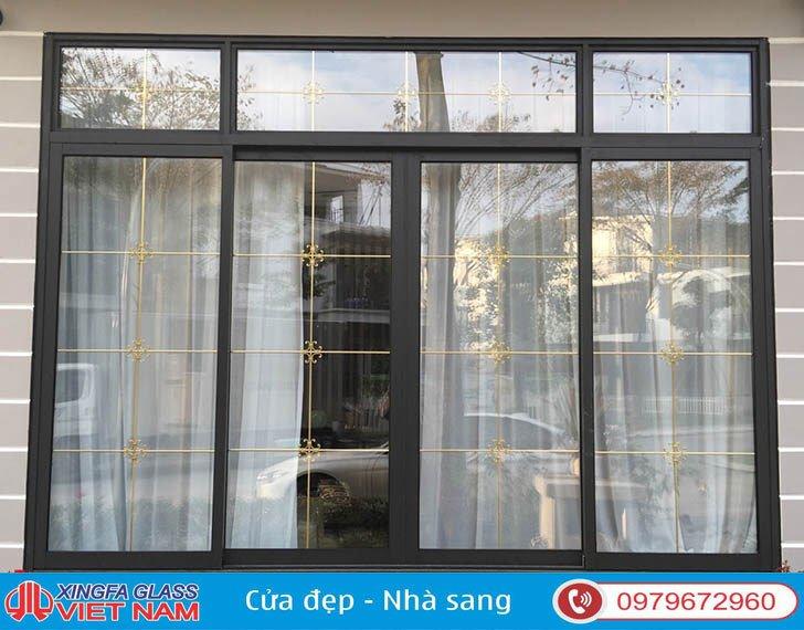 Sản phẩm cửa sổ mở trượt 4 cánh nhôm Xingfa hệ 93
