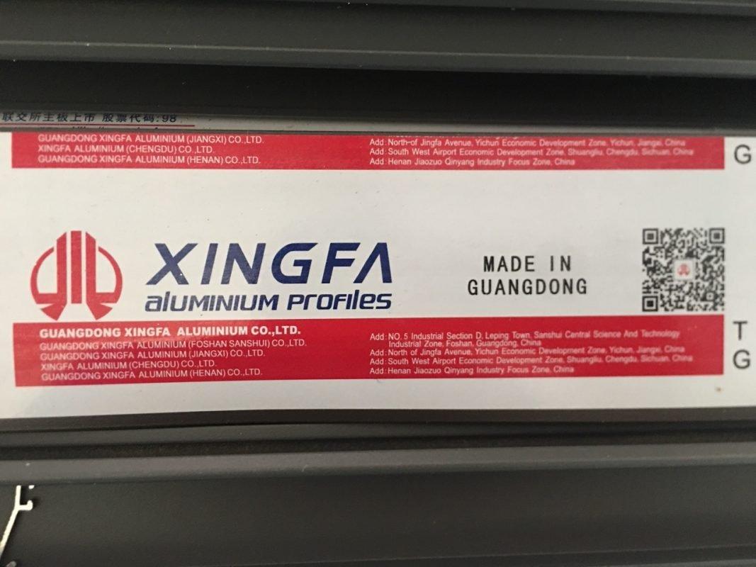 Anh mẫu tem Xingfa mới nhất: Thay thế tên XINGFA bằng tiếng Anh, trước kia là tiếng Trung Quốc.