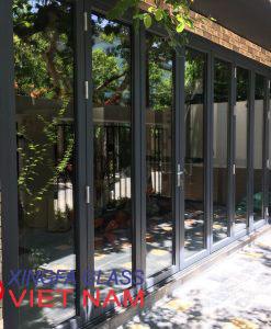 Cửa Nhôm XingFa Hệ 63 - 8 Cánh kiểu cửa đi xếp trượt