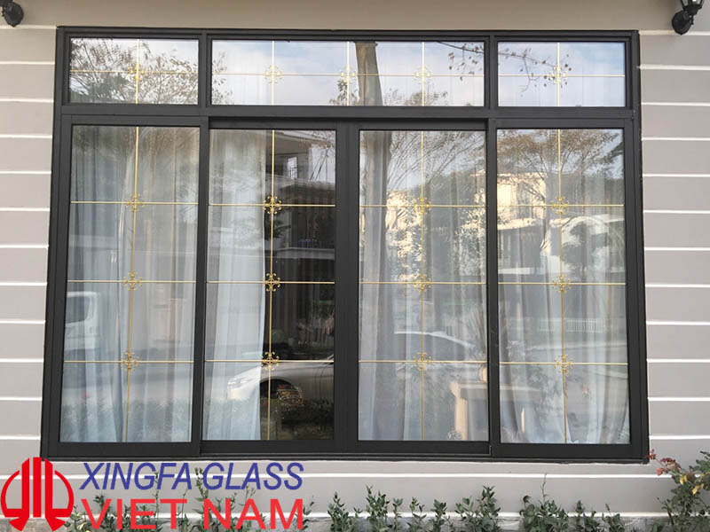 Cửa Sổ Mở Trượt 4 Cánh Nhôm Xingfa nhập khẩu hệ 93 màu nâu cafe
