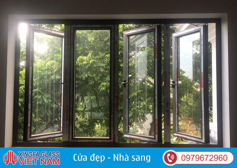 Cửa Sổ Mở Quay 4 Cánh Nhôm Xingfa Hệ 55 Màu Cafe